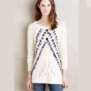 Knitted & Knotted Anthro Cream Woven Knit Sweater
